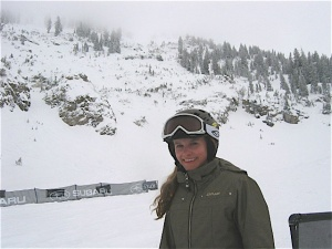 Natalie after her run at the Jr. Snowbird FWT Competition, 2010